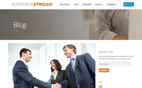 Screenshot of Blog interviewstream.com - Online Video Interviewing Blog - InterviewStream - captured Oct. 29, 2014