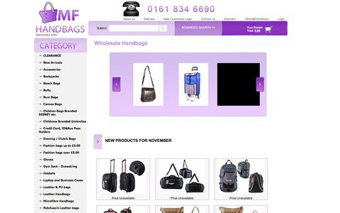 Screenshot of Home Page mfhandbags.co.uk - Wholesale Handbags | Wholesaler Handbags | Handbag wholesales | UK - captured Nov. 10, 2016