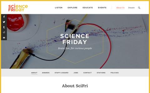 Screenshot of About Page sciencefriday.com - About - Science Friday - captured May 26, 2017