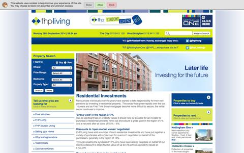 Screenshot of Developers Page fhpliving.co.uk - FHP Living - Investments for Sale - captured Sept. 30, 2014