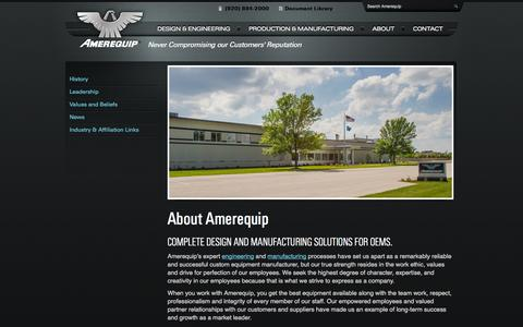 Screenshot of About Page amerequip.com - Amerequip - Design, Engineering and Manufacturing Solutions for OEMs - captured Oct. 4, 2014