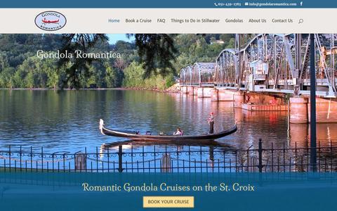 Screenshot of Home Page gondolaromantica.com - Gondola Romantica on the St. Croix in Stillwater - captured March 12, 2016