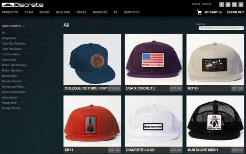 Screenshot of Products Page discreteheadwear.com - All – Discrete Headwear and Apparel - captured Sept. 15, 2014