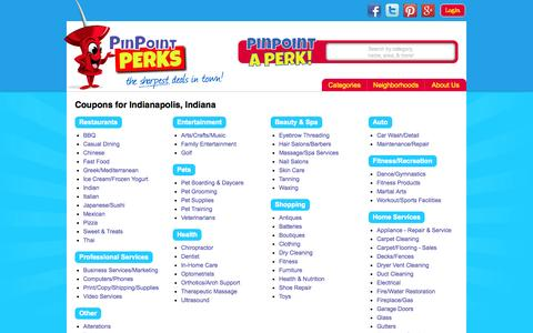 Screenshot of Locations Page pinpointperks.com - Entire Indianapolis Area Coupons from PinPoint PERKS - captured Sept. 29, 2014