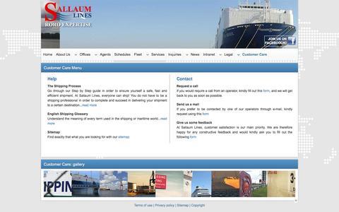 Screenshot of Menu Page sallaumlines.com - Sallaum Lines | Customer Care Options - captured Jan. 22, 2016
