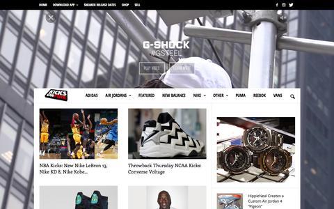 Screenshot of Home Page kicksonfire.com - KicksOnFire.com - Sneaker News & Release Dates - captured Oct. 8, 2015