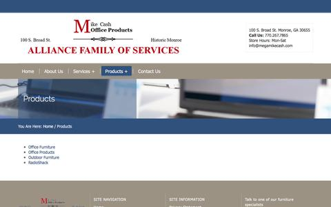 Screenshot of Products Page megamikecash.com - Products – Alliance Business Center - captured June 10, 2017