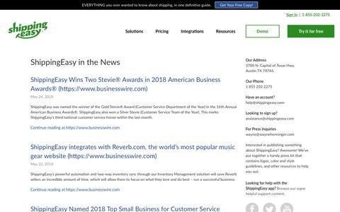 Screenshot of Press Page shippingeasy.com - Press Archive - ShippingEasy - captured May 29, 2018