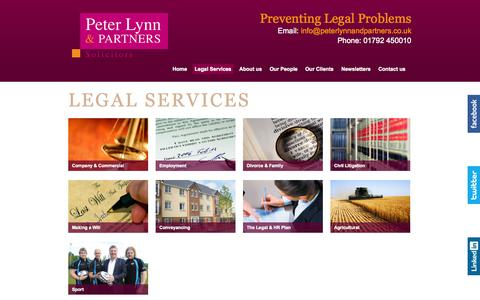 Screenshot of Services Page peterlynnandpartners.co.uk - Legal Services | South Wales Solicitors | Peter Lynn & Partners - captured Oct. 2, 2014