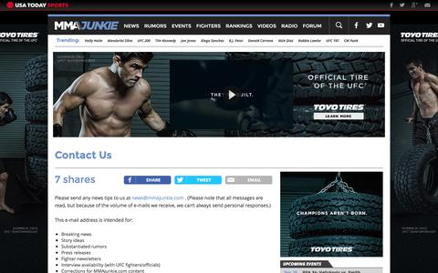 Screenshot of Contact Page mmajunkie.com - Contact Us | MMAjunkie - captured Jan. 15, 2016