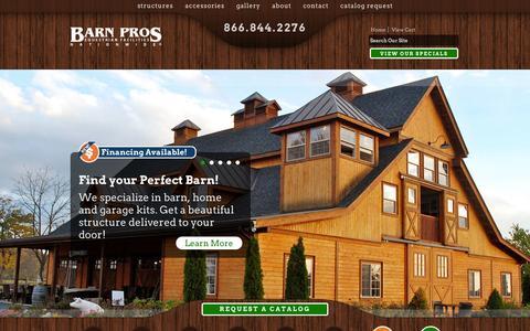 Screenshot of Home Page barnpros.com - Wood Barn Kits for Horses, RVs, Boats - Barn Pros - captured Sept. 24, 2014
