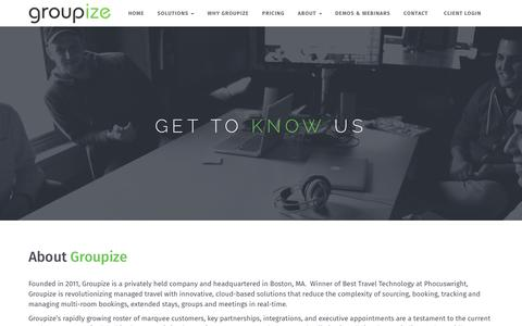 Screenshot of About Page groupize.com - About Groupize – Groupize Meetings - captured May 15, 2018