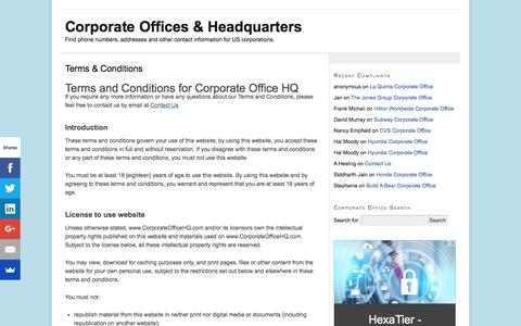 Screenshot of Terms Page corporateofficehq.com - Terms & Conditions - Corporate Offices & Headquarters - captured Aug. 28, 2016