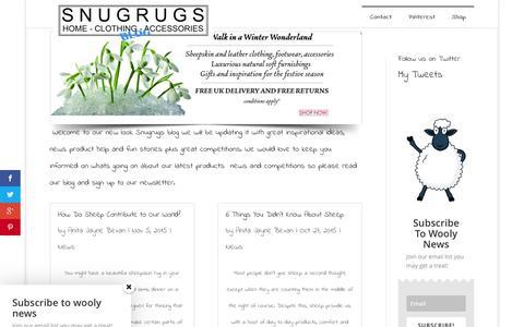 Screenshot of Blog snugrugs.co.uk - Snugrugs Blog for news and chat - captured Feb. 25, 2016