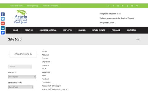 Screenshot of Site Map Page acacia.ac.uk - Site Map - Acacia Training and Development - captured Nov. 20, 2016