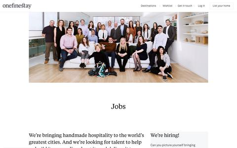 Screenshot of Jobs Page onefinestay.com - Jobs | onefinestay - captured Jan. 25, 2020