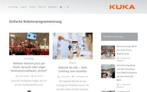 Screenshot of Support Page kuka.com - Einfache Roboterprogrammierung Archive – KUKA BLOG - captured Feb. 13, 2020