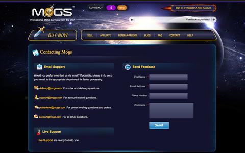 Screenshot of Contact Page mogs.com - Professional MMO Services from the USA | MOGS.com - captured Oct. 1, 2014