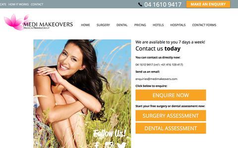 Screenshot of Contact Page medimakeovers.com - Medi Makeovers | Safe & Affordable Medical Travel | CONTACT - captured June 10, 2017