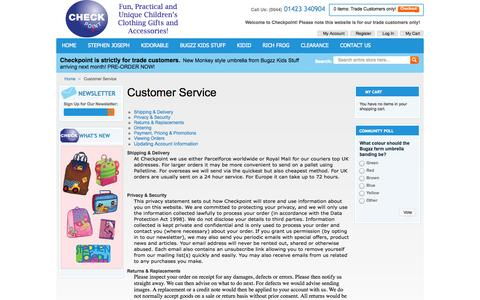 Screenshot of Support Page checkpointonline.co.uk - Customer Service - captured Oct. 5, 2014