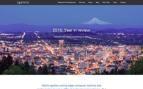 Screenshot of Home Page galois.com - Home - Galois, Inc. - captured Jan. 26, 2016