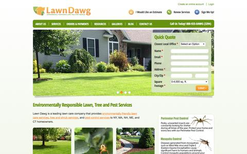 Screenshot of Home Page lawndawg.com - Lawn Care Services | Lawn Fertilization | Pest Control Services - captured Sept. 29, 2014