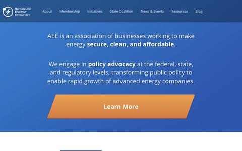 Screenshot of Home Page aee.net - AEE Advanced Energy Economy (AEE) - captured Feb. 5, 2016