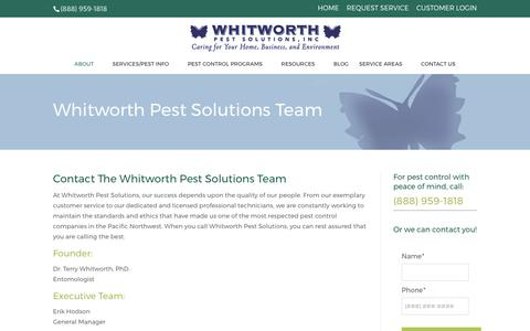 Screenshot of Team Page whitworthpestsolutions.com - Our Pest Control Team in Seattle & Tacoma | Whitworth Pest Solutions - captured Oct. 27, 2017