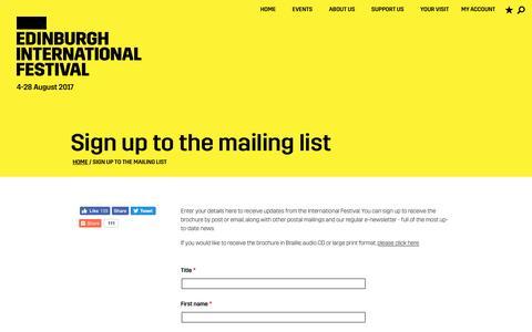Screenshot of Signup Page eif.co.uk - Sign up to our mailing list | Edinburgh International Festival - captured Dec. 1, 2016