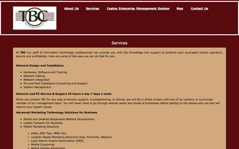 Screenshot of Services Page tbcusa.com - Services - Today's Business Computers, Inc. - captured Dec. 2, 2016