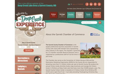 Screenshot of About Page visitdeepcreek.com - About Us - Garrett County Chamber of Commerce, MD - captured Feb. 15, 2016