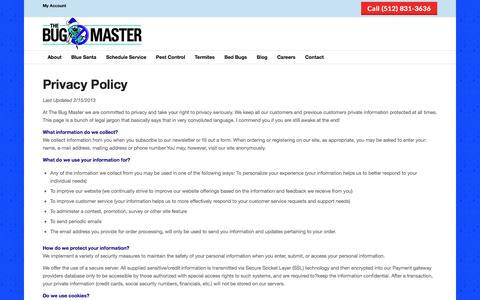 Screenshot of Privacy Page thebugmaster.com - Privacy Policy | The Bug Master - captured Dec. 6, 2016