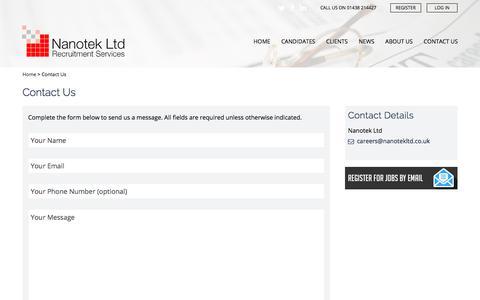 Screenshot of Contact Page nanotekltd.com - Contact Us - Nanotek Ltd - captured Sept. 20, 2018