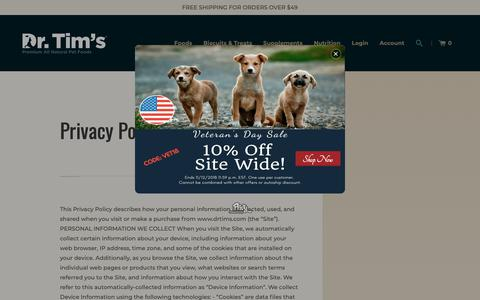 Screenshot of Privacy Page drtims.com - Privacy Policy – Dr. Tim's Pet Food Company, LLC - captured Nov. 14, 2018
