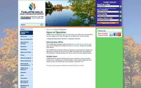 Screenshot of Hours Page thprd.org - THPRD: About Us - Hours of Operation - captured Nov. 4, 2014