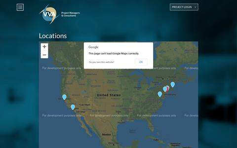 Screenshot of Locations Page vvallc.com - Locations   VVA Project Managers and Commercial Property Development Services - captured Oct. 18, 2018