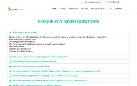 Screenshot of FAQ Page tacktile.net - Mobile App Development company Frequently Asked Questions - captured July 8, 2018