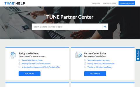 TUNE Partner Center     TUNE Help