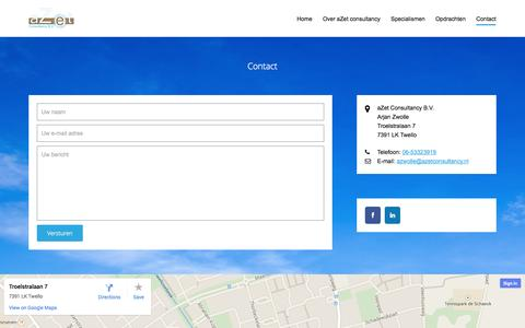 Screenshot of Contact Page azetconsultancy.nl - aZetConsultancy - Contact - captured Nov. 2, 2014