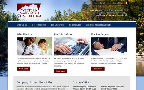 Screenshot of Home Page westernmarylandconsortium.org - Western Maryland Consortium - Workforce Development Agency - captured Oct. 9, 2014