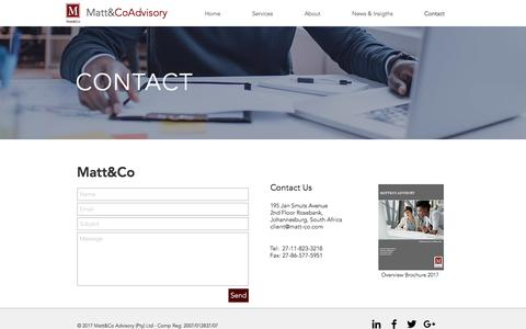 Screenshot of Contact Page matt-co.com - building ventures, building value | Contact - captured May 27, 2017