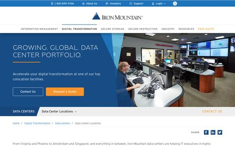 Screenshot of Locations Page ironmountain.com - Data Center Locations | Iron Mountain - captured Dec. 3, 2018