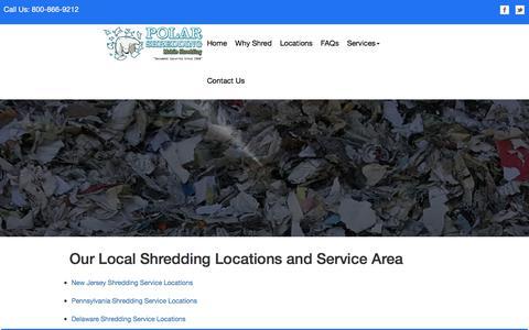 Screenshot of Locations Page polarshredding.com - Paper Shredding in NJ | Document & Paper Shredding Service in NJ - captured Oct. 18, 2017