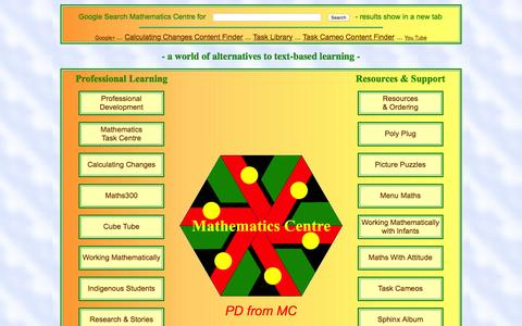 Screenshot of Home Page mathematicscentre.com - Mathematics Centre: ... A world of alternatives to text-based learning - captured Sept. 29, 2015