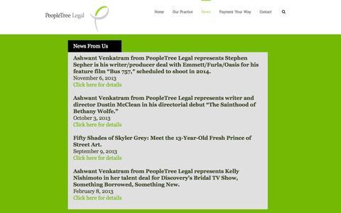 Screenshot of Press Page peopletreelegal.com - PeopleTree Legal   –  News - captured Sept. 29, 2014