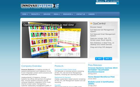 Screenshot of Home Page innovax.com.sg - Innovax Systems Pte Ltd - Innovation in Customer Interaction Systems - captured Oct. 6, 2014