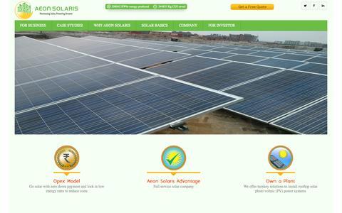 Screenshot of Home Page Menu Page aeonsolaris.com captured Oct. 4, 2014
