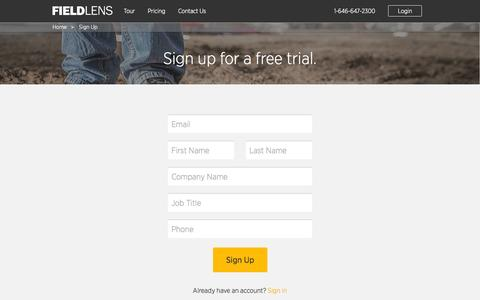 Screenshot of Signup Page fieldlens.com - Sign Up | FieldLens - captured Oct. 28, 2014
