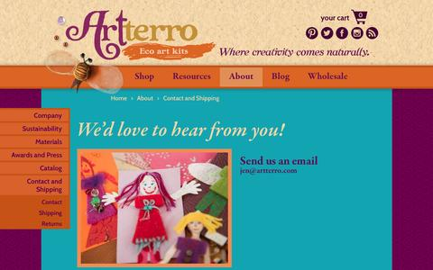 Screenshot of Contact Page artterro.com - Contact and Shipping | Artterro - captured Dec. 26, 2015