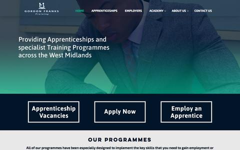 Screenshot of Home Page gordonfrankstraining.co.uk - Gordon Franks Training - Apprenticeships Birmingham - captured July 22, 2018